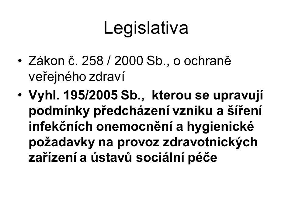 Legislativa Zákon č. 258 / 2000 Sb., o ochraně veřejného zdraví Vyhl. 195/2005 Sb., kterou se upravují podmínky předcházení vzniku a šíření infekčních