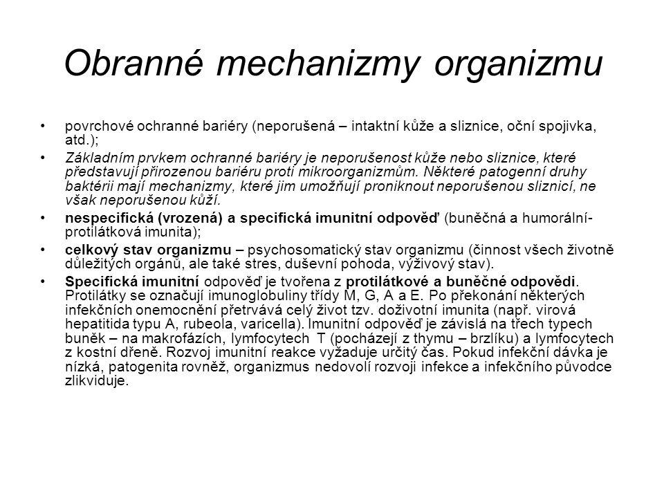 Obranné mechanizmy organizmu povrchové ochranné bariéry (neporušená – intaktní kůže a sliznice, oční spojivka, atd.); Základním prvkem ochranné bariér