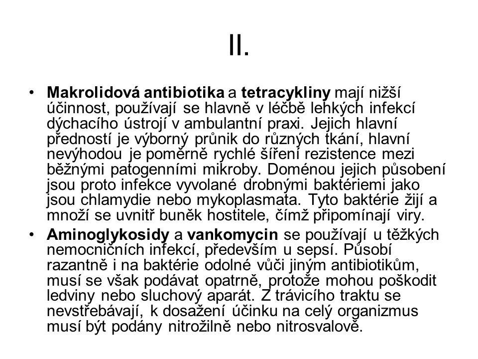 II. Makrolidová antibiotika a tetracykliny mají nižší účinnost, používají se hlavně v léčbě lehkých infekcí dýchacího ústrojí v ambulantní praxi. Jeji