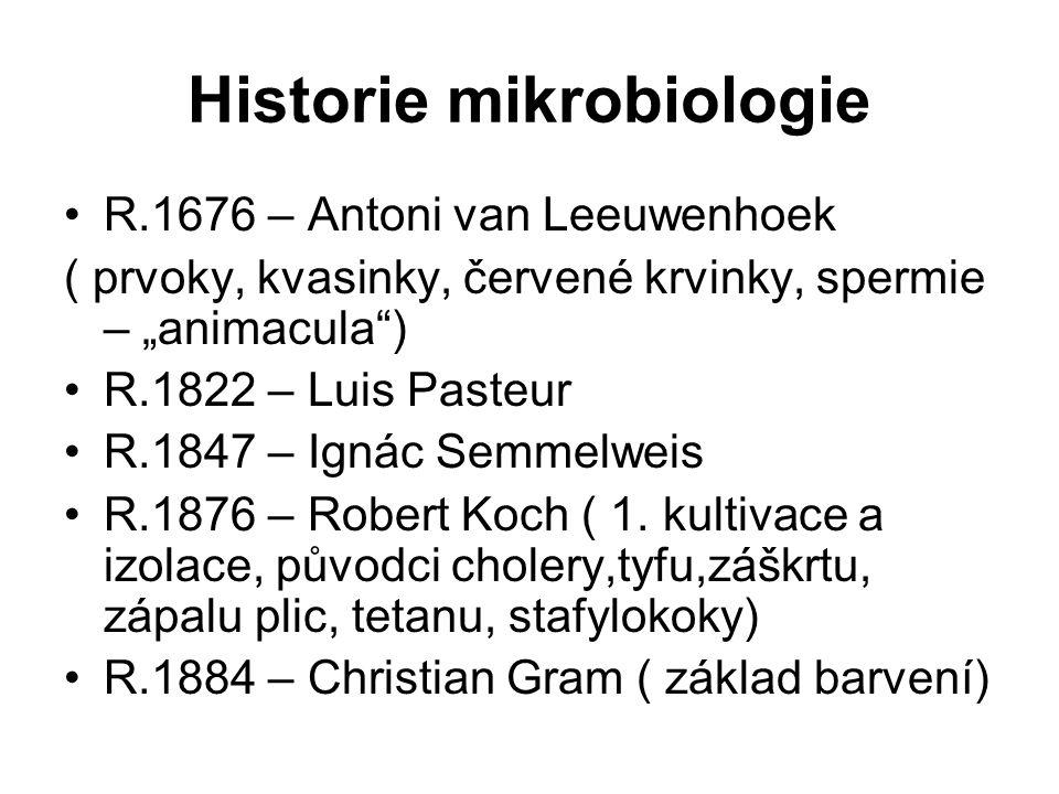 "Historie mikrobiologie R.1676 – Antoni van Leeuwenhoek ( prvoky, kvasinky, červené krvinky, spermie – ""animacula"") R.1822 – Luis Pasteur R.1847 – Igná"