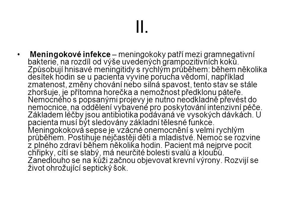 II. Meningokové infekce – meningokoky patří mezi gramnegativní bakterie, na rozdíl od výše uvedených grampozitivních koků. Způsobují hnisavé meningiti