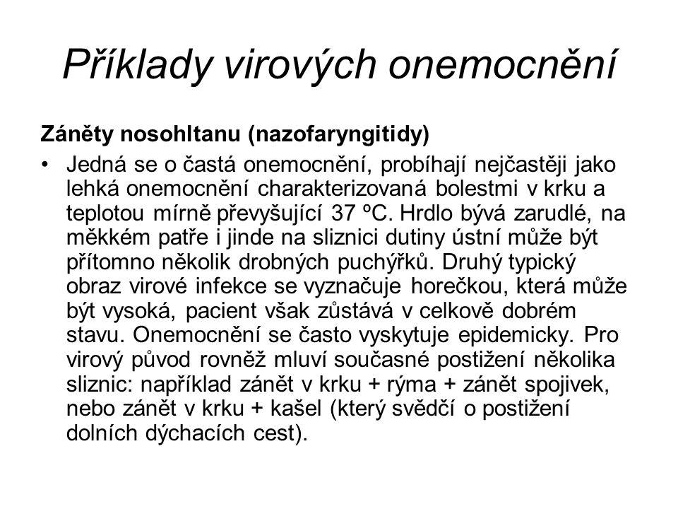 Příklady virových onemocnění Záněty nosohltanu (nazofaryngitidy) Jedná se o častá onemocnění, probíhají nejčastěji jako lehká onemocnění charakterizov