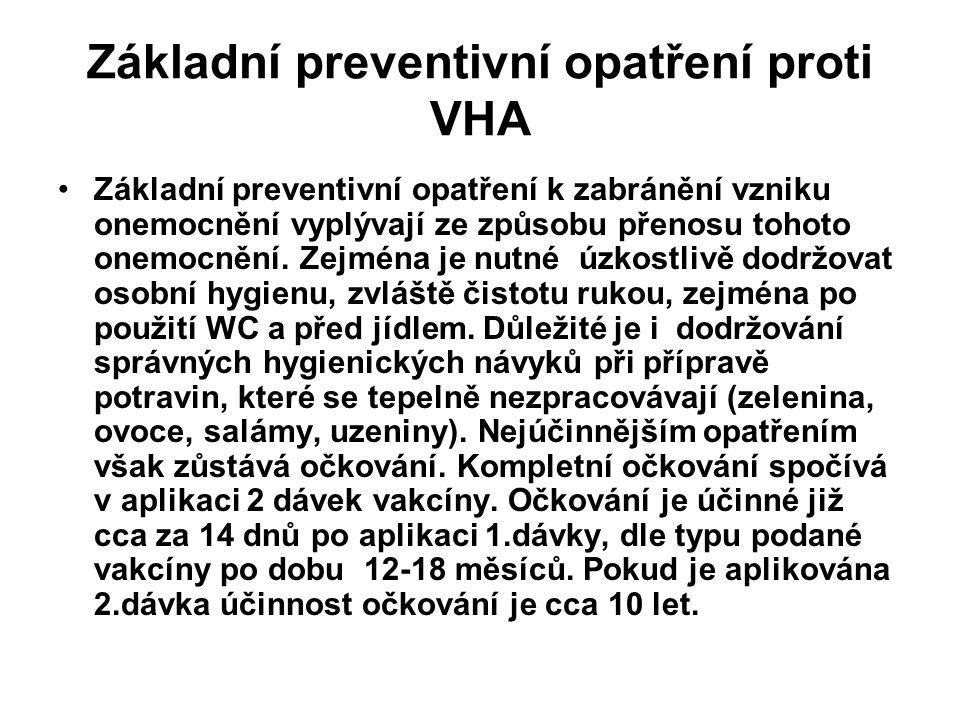 Základní preventivní opatření proti VHA Základní preventivní opatření k zabránění vzniku onemocnění vyplývají ze způsobu přenosu tohoto onemocnění. Ze