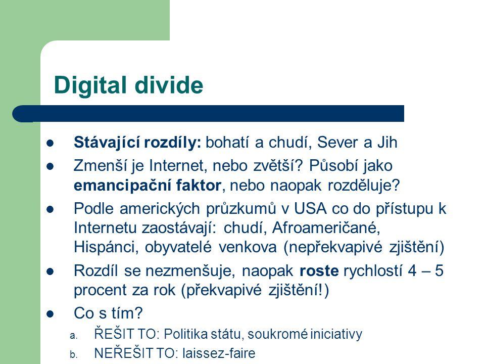 Digital divide Stávající rozdíly: bohatí a chudí, Sever a Jih Zmenší je Internet, nebo zvětší.