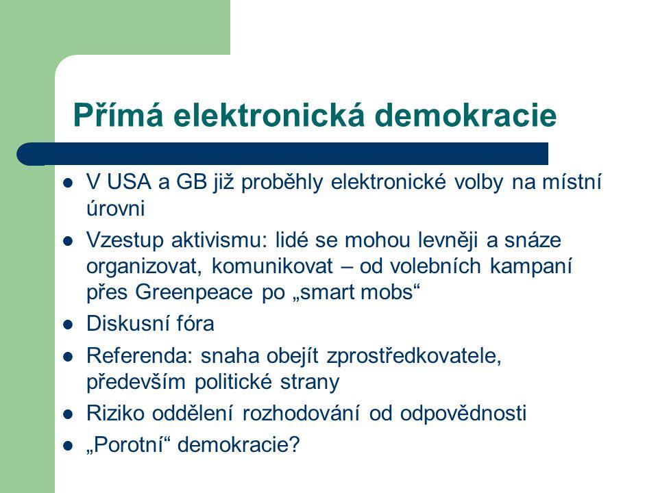 """Přímá elektronická demokracie V USA a GB již proběhly elektronické volby na místní úrovni Vzestup aktivismu: lidé se mohou levněji a snáze organizovat, komunikovat – od volebních kampaní přes Greenpeace po """"smart mobs Diskusní fóra Referenda: snaha obejít zprostředkovatele, především politické strany Riziko oddělení rozhodování od odpovědnosti """"Porotní demokracie"""
