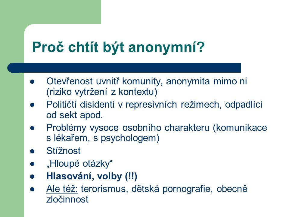 Proč chtít být anonymní.