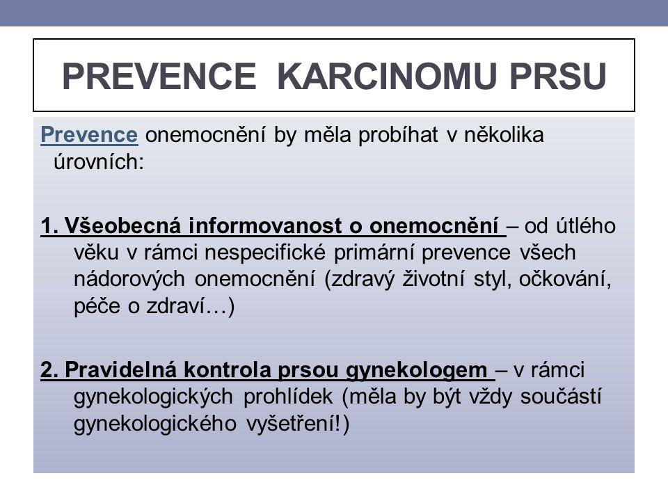 PREVENCE KARCINOMU PRSU Prevence onemocnění by měla probíhat v několika úrovních: 1. Všeobecná informovanost o onemocnění – od útlého věku v rámci nes