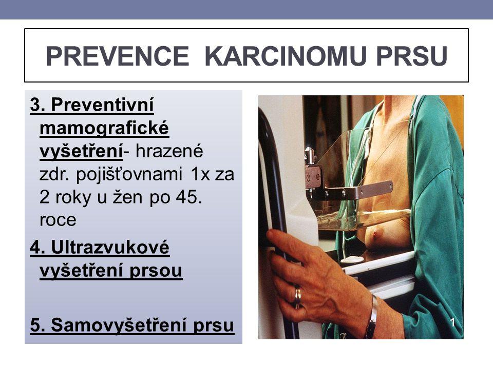 PREVENCE KARCINOMU PRSU 3. Preventivní mamografické vyšetření- hrazené zdr. pojišťovnami 1x za 2 roky u žen po 45. roce 4. Ultrazvukové vyšetření prso