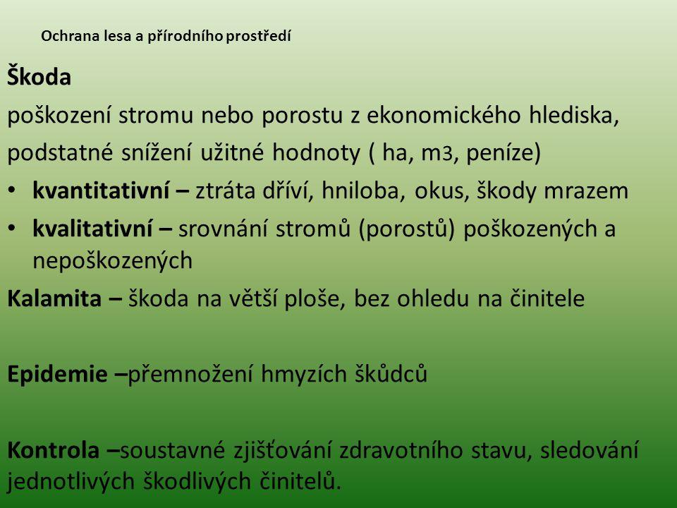Ochrana lesa a přírodního prostředí Škoda poškození stromu nebo porostu z ekonomického hlediska, podstatné snížení užitné hodnoty ( ha, m 3, peníze) k