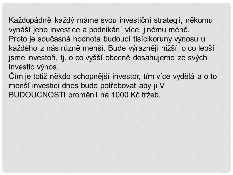 Každopádně každý máme svou investiční strategii, někomu vynáší jeho investice a podnikání více, jinému méně. Proto je současná hodnota budoucí tisícik