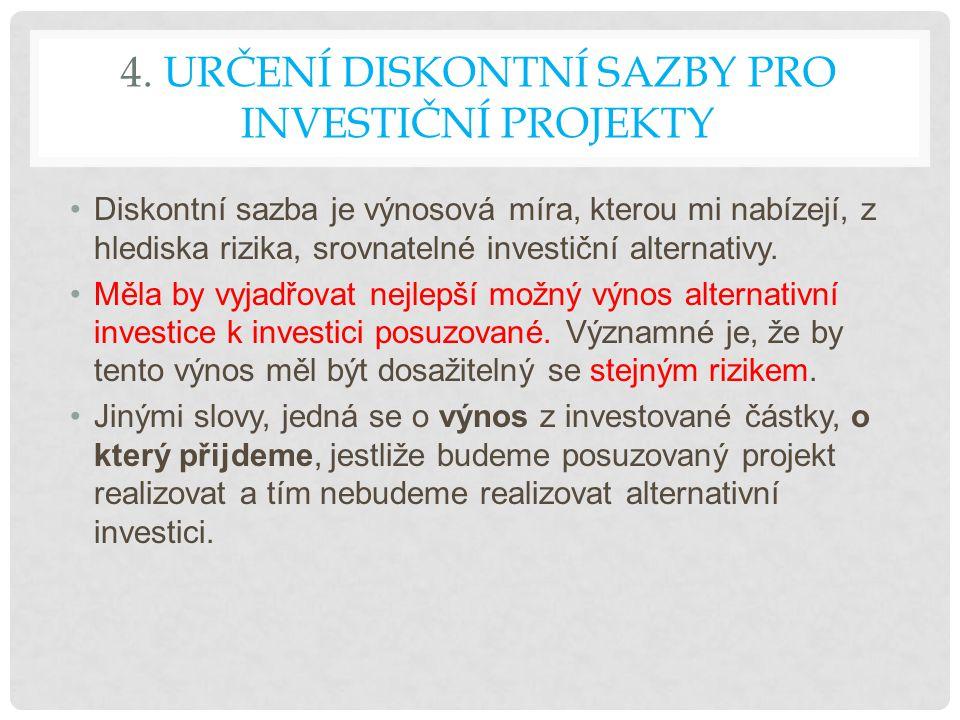 4. URČENÍ DISKONTNÍ SAZBY PRO INVESTIČNÍ PROJEKTY Diskontní sazba je výnosová míra, kterou mi nabízejí, z hlediska rizika, srovnatelné investiční alte