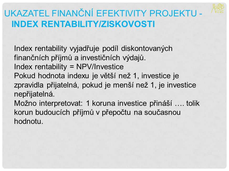 UKAZATEL FINANČNÍ EFEKTIVITY PROJEKTU - INDEX RENTABILITY/ZISKOVOSTI Index rentability vyjadřuje podíl diskontovaných finančních příjmů a investičních