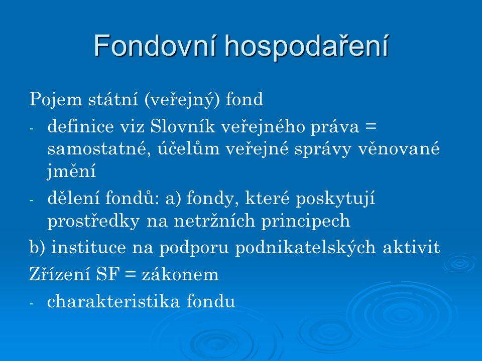 Fondovní hospodaření Pojem státní (veřejný) fond - - definice viz Slovník veřejného práva = samostatné, účelům veřejné správy věnované jmění - - dělen