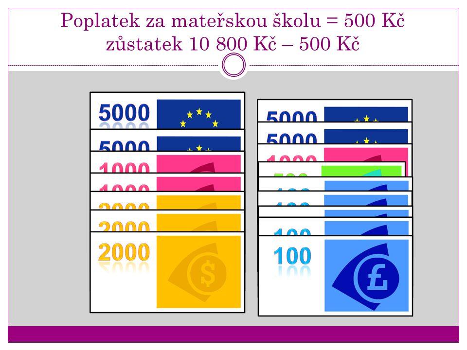 Poplatek za mateřskou školu = 500 Kč zůstatek 10 800 Kč – 500 Kč