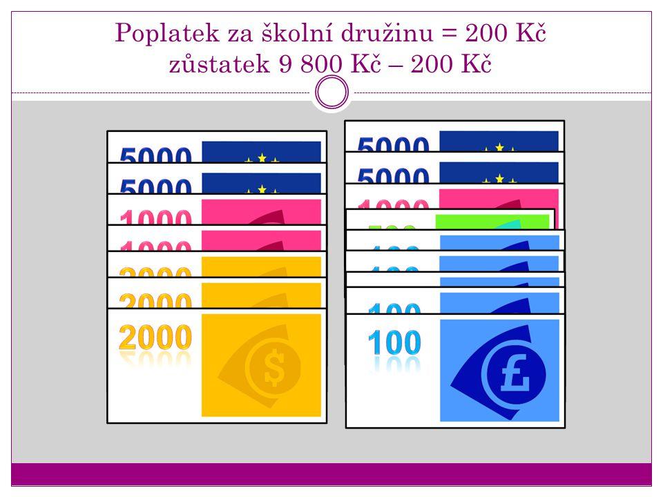 Poplatek za školní družinu = 200 Kč zůstatek 9 800 Kč – 200 Kč
