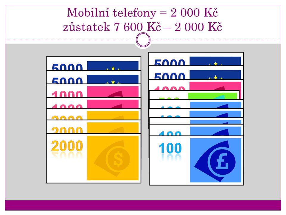 Mobilní telefony = 2 000 Kč zůstatek 7 600 Kč – 2 000 Kč