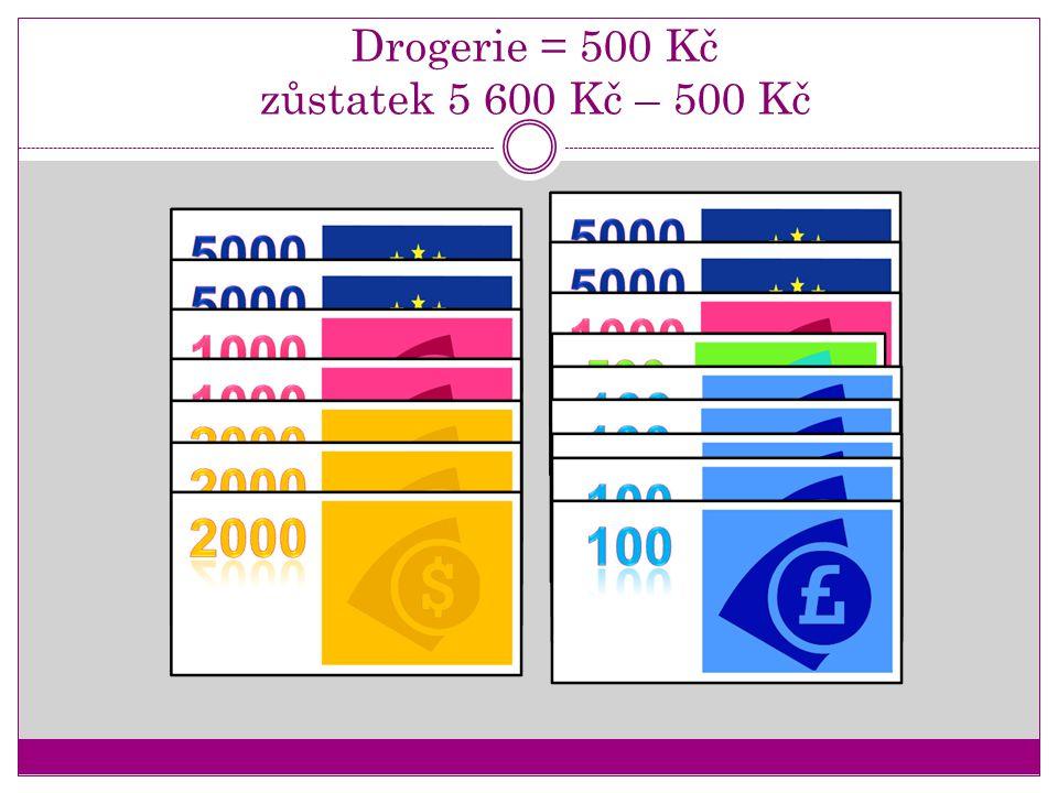 Drogerie = 500 Kč zůstatek 5 600 Kč – 500 Kč