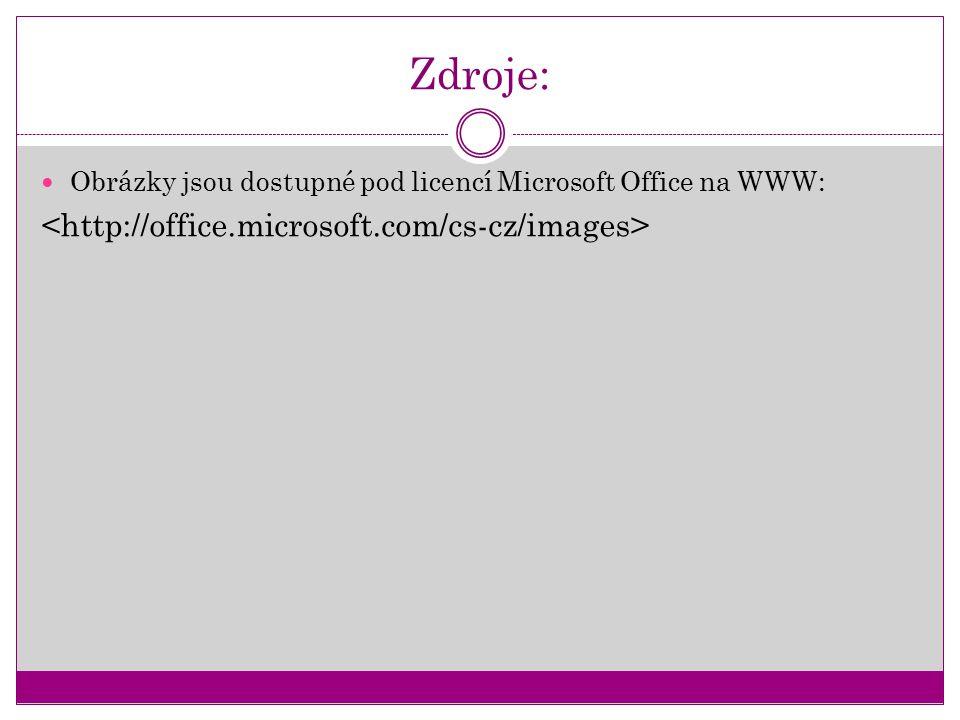 Zdroje: Obrázky jsou dostupné pod licencí Microsoft Office na WWW: