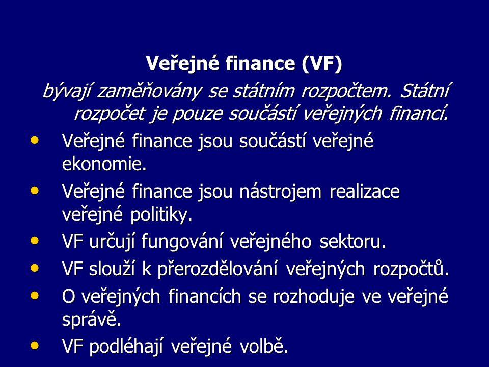 Veřejné finance (VF) bývají zaměňovány se státním rozpočtem.