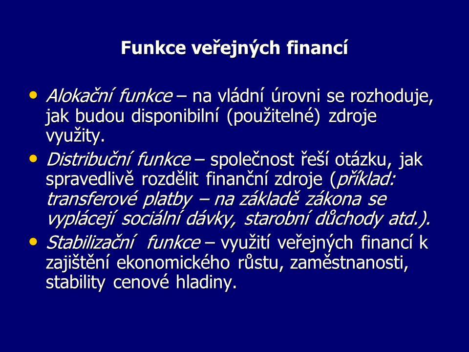 Funkce veřejných financí Alokační funkce – na vládní úrovni se rozhoduje, jak budou disponibilní (použitelné) zdroje využity.