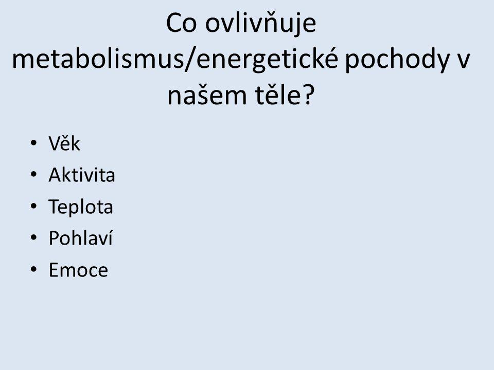 Co ovlivňuje metabolismus/energetické pochody v našem těle? Věk Aktivita Teplota Pohlaví Emoce