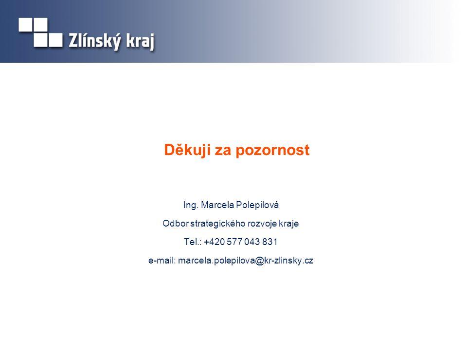Děkuji za pozornost Ing. Marcela Polepilová Odbor strategického rozvoje kraje Tel.: +420 577 043 831 e-mail: marcela.polepilova@kr-zlinsky.cz