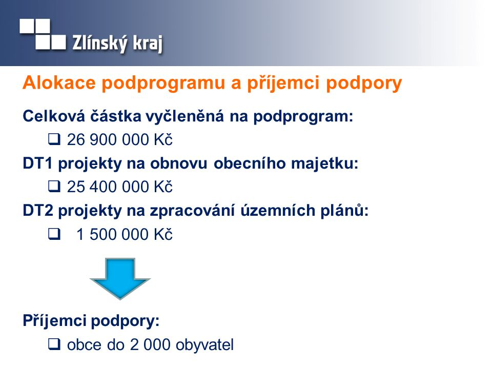 Alokace podprogramu a příjemci podpory Celková částka vyčleněná na podprogram:  26 900 000 Kč DT1 projekty na obnovu obecního majetku:  25 400 000 K