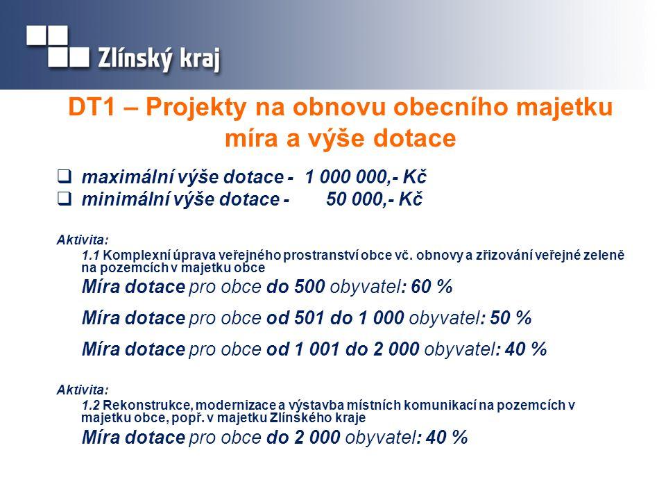DT1 – Projekty na obnovu obecního majetku míra a výše dotace  maximální výše dotace - 1 000 000,- Kč  minimální výše dotace - 50 000,- Kč Aktivita: