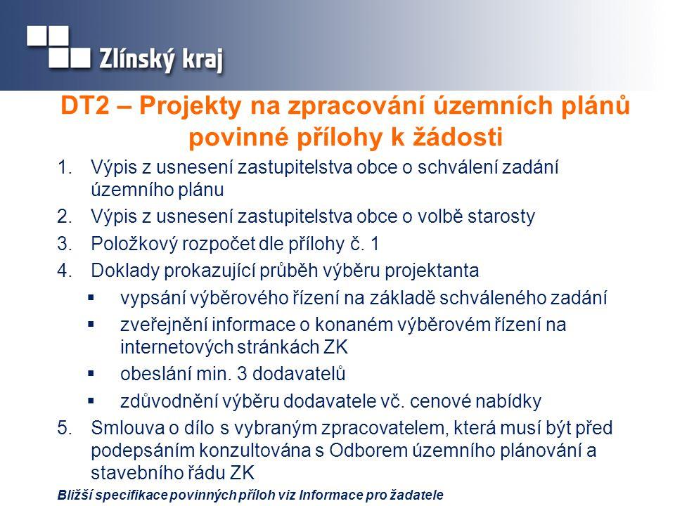 DT2 – Projekty na zpracování územních plánů povinné přílohy k žádosti 1.Výpis z usnesení zastupitelstva obce o schválení zadání územního plánu 2.Výpis z usnesení zastupitelstva obce o volbě starosty 3.Položkový rozpočet dle přílohy č.