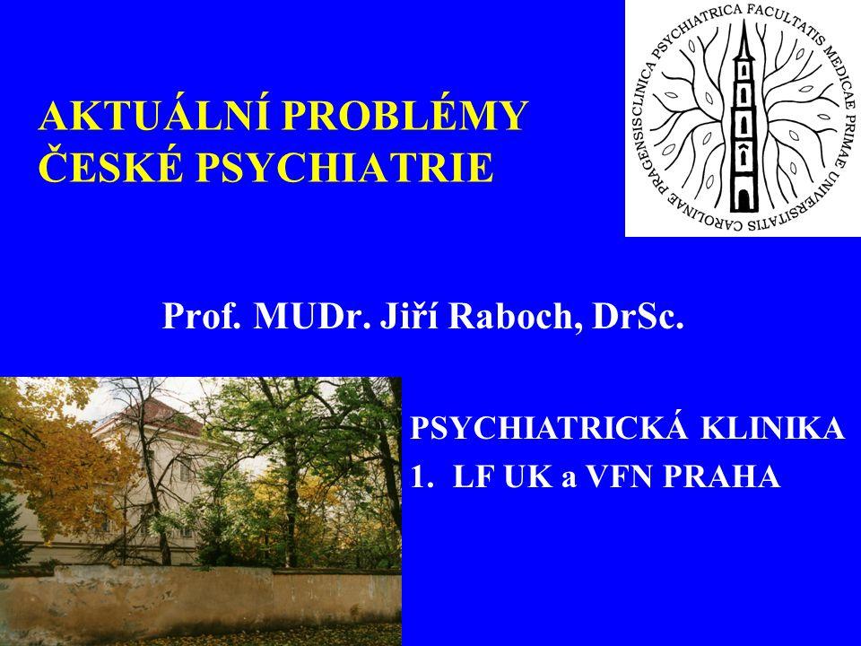 AKTUÁLNÍ PROBLÉMY ČESKÉ PSYCHIATRIE Prof. MUDr. Jiří Raboch, DrSc. PSYCHIATRICKÁ KLINIKA 1.LF UK a VFN PRAHA