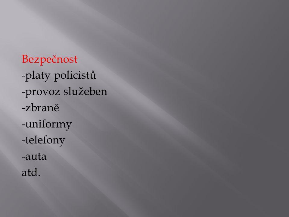 Bezpečnost -platy policistů -provoz služeben -zbraně -uniformy -telefony -auta atd.