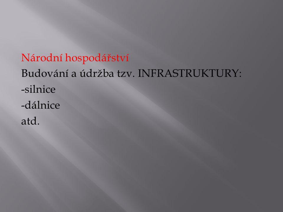 Národní hospodářství Budování a údržba tzv. INFRASTRUKTURY: -silnice -dálnice atd.
