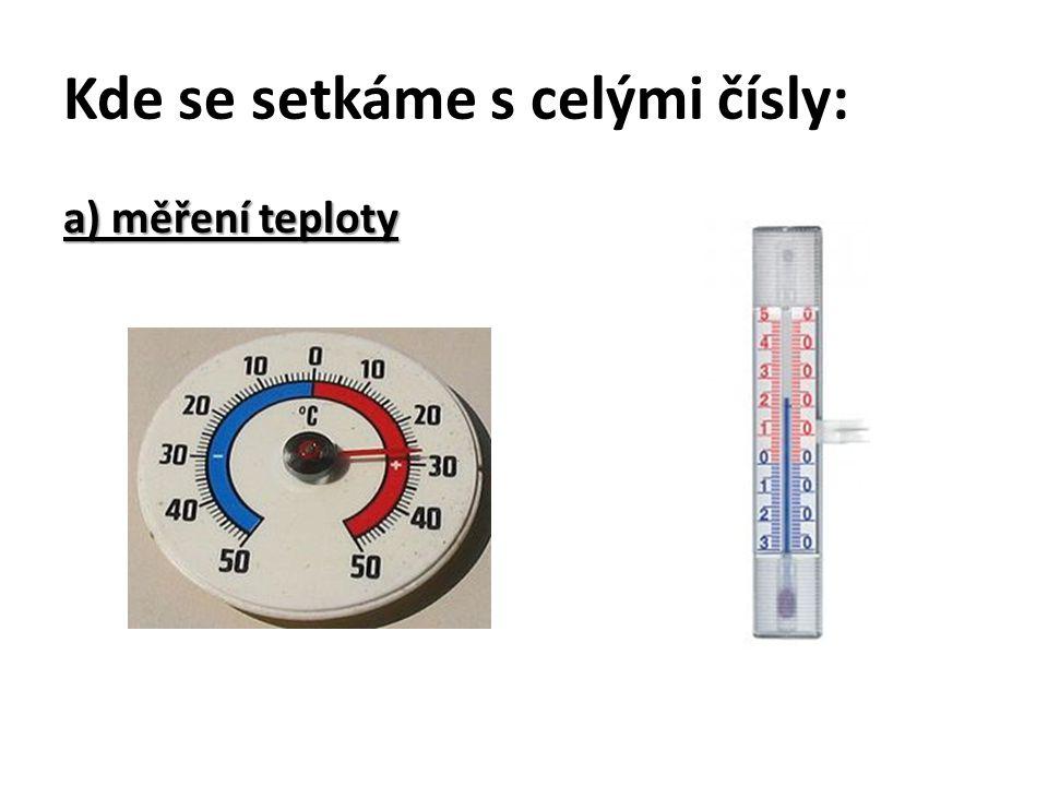 Kde se setkáme s celými čísly: a) měření teploty