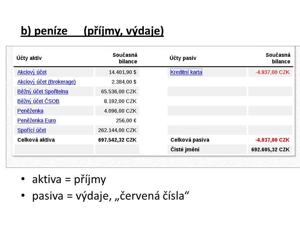 """b) peníze (příjmy, výdaje) aktiva = příjmy pasiva = výdaje, """"červená čísla"""