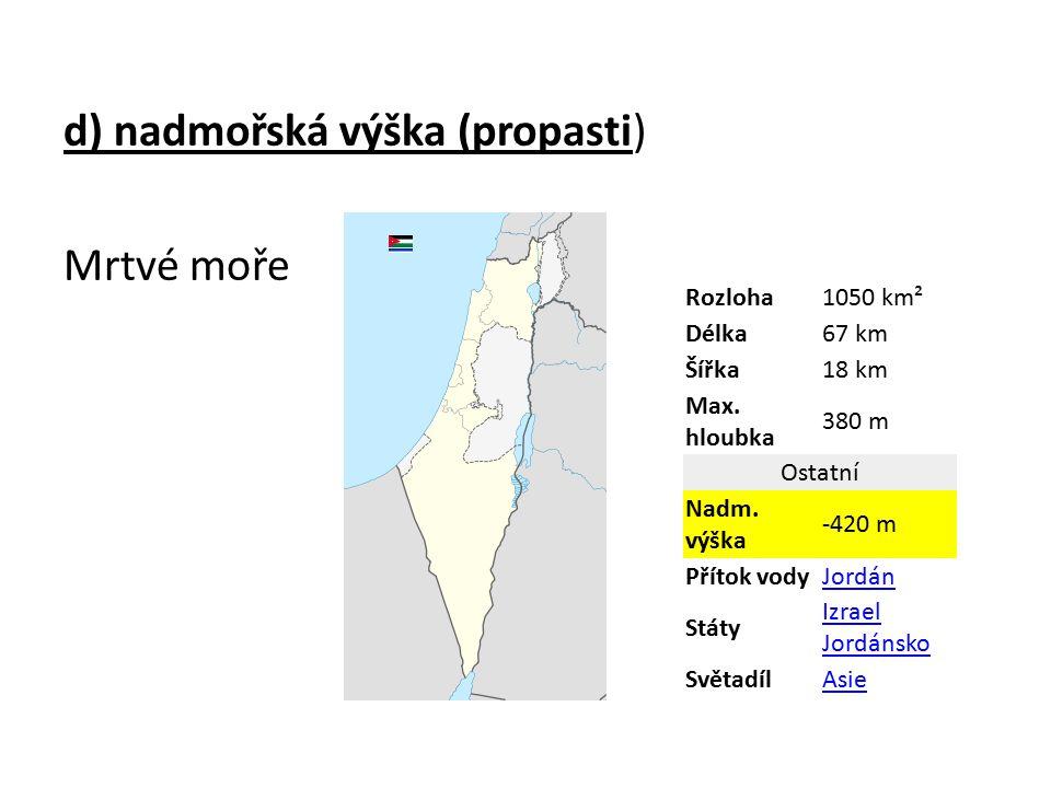 d) nadmořská výška (propasti) Mrtvé moře Rozloha1050 km² Délka67 km Šířka18 km Max.