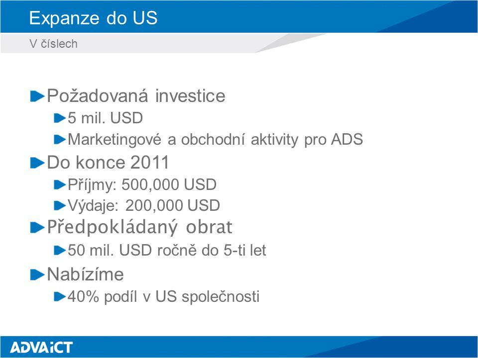 Expanze do US Požadovaná investice 5 mil.
