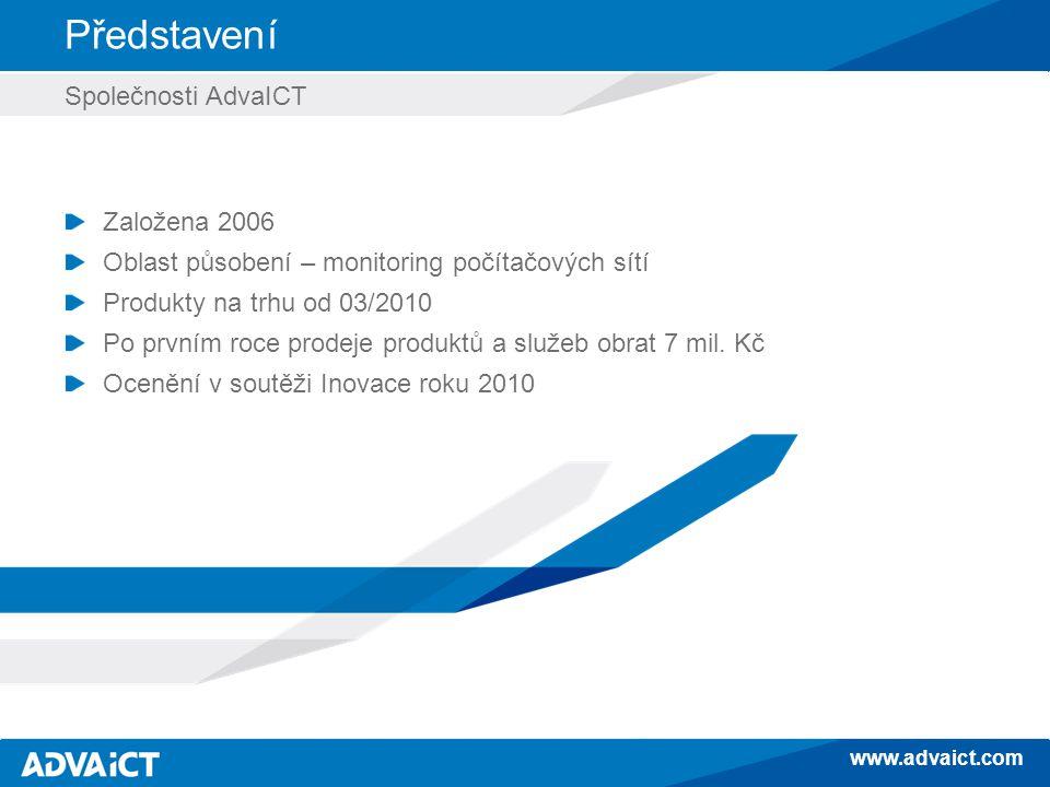 www.advaict.com Představení Společnosti AdvaICT Založena 2006 Oblast působení – monitoring počítačových sítí Produkty na trhu od 03/2010 Po prvním roce prodeje produktů a služeb obrat 7 mil.