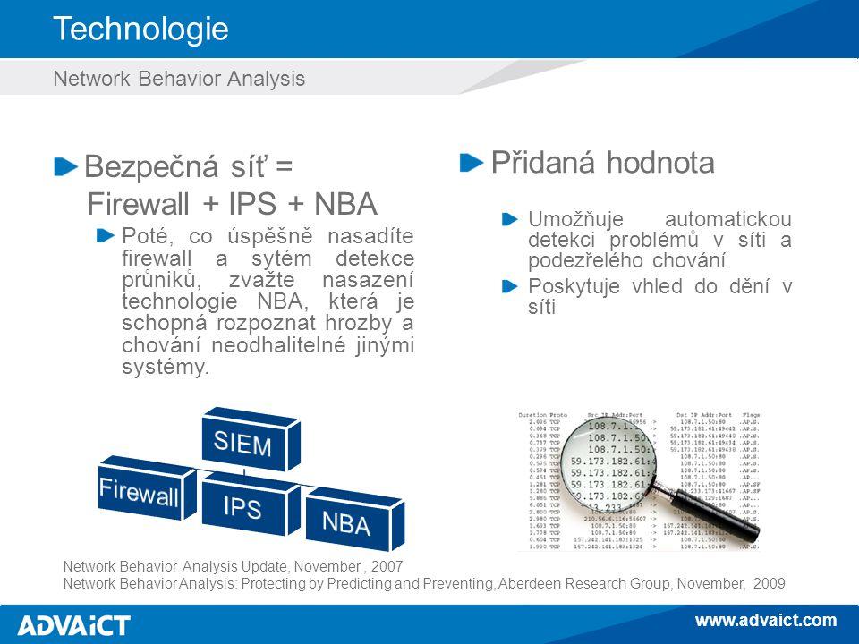 www.advaict.com Technologie Network Behavior Analysis Bezpečná síť = Firewall + IPS + NBA Poté, co úspěšně nasadíte firewall a sytém detekce průniků, zvažte nasazení technologie NBA, která je schopná rozpoznat hrozby a chování neodhalitelné jinými systémy.
