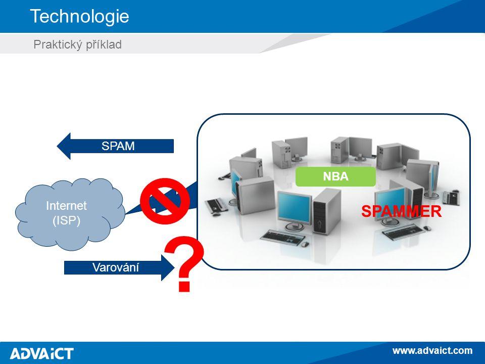 www.advaict.com Technologie Internet (ISP) SPAM Varování NBA SPAMMER Praktický příklad