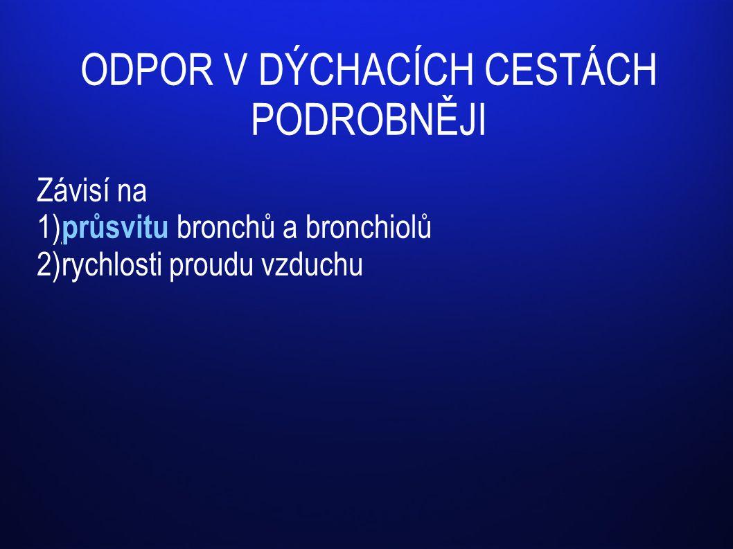 ODPOR V DÝCHACÍCH CESTÁCH PODROBNĚJI Závisí na 1) průsvitu bronchů a bronchiolů 2)rychlosti proudu vzduchu
