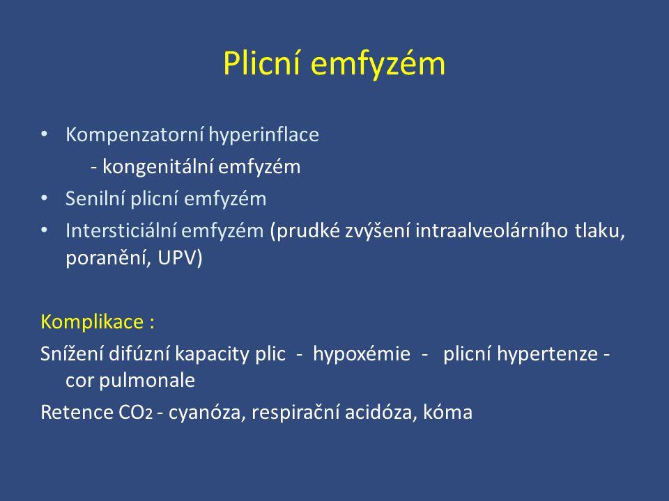 Plicní emfyzém Kompenzatorní hyperinflace - kongenitální emfyzém Senilní plicní emfyzém Intersticiální emfyzém (prudké zvýšení intraalveolárního tlaku
