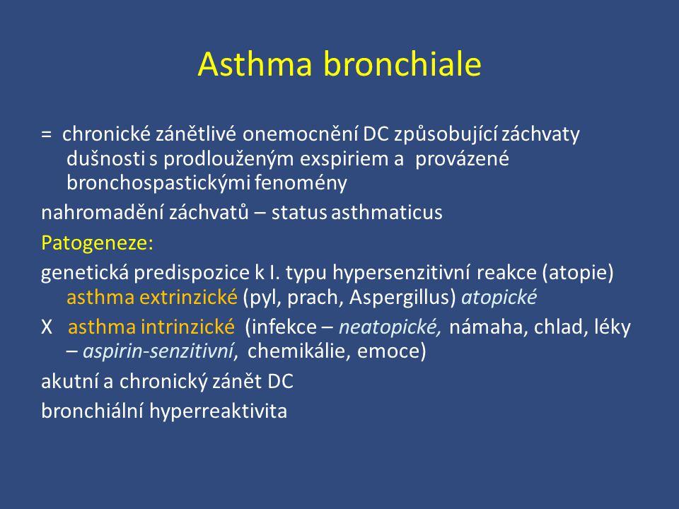 Asthma bronchiale = chronické zánětlivé onemocnění DC způsobující záchvaty dušnosti s prodlouženým exspiriem a provázené bronchospastickými fenomény n