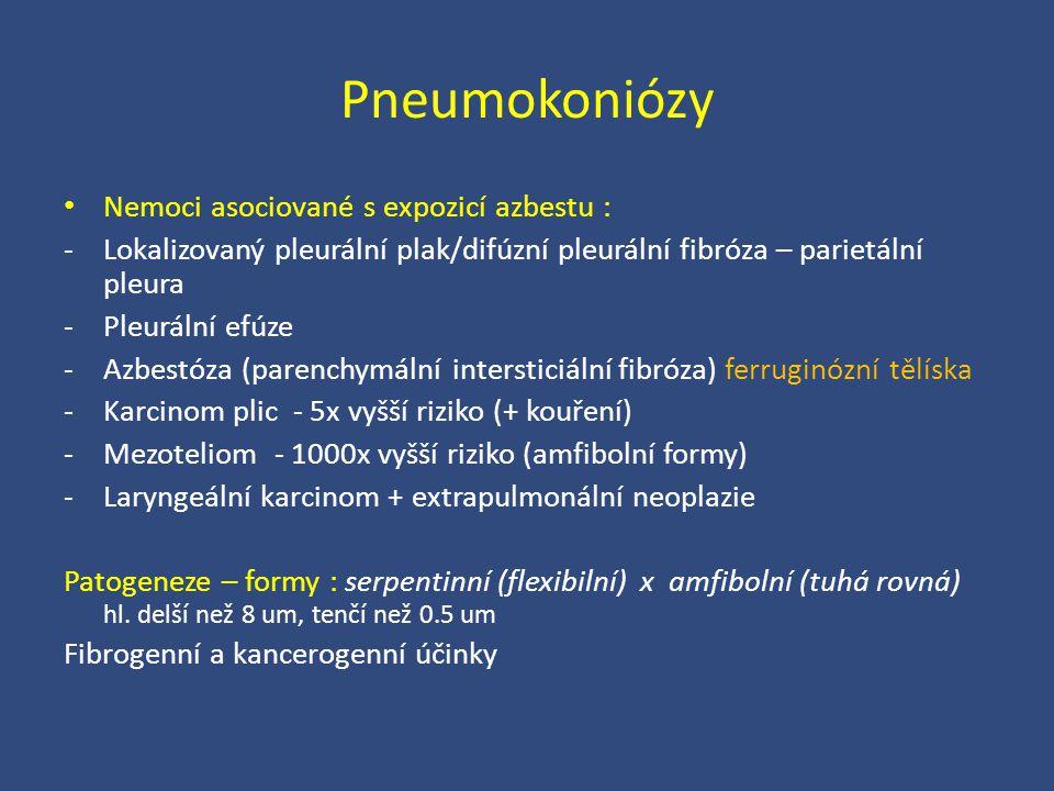 Pneumokoniózy Nemoci asociované s expozicí azbestu : -Lokalizovaný pleurální plak/difúzní pleurální fibróza – parietální pleura -Pleurální efúze -Azbe