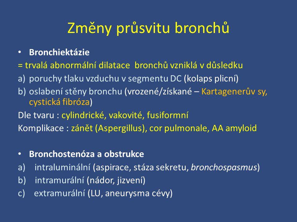 Změny průsvitu bronchů Bronchiektázie = trvalá abnormální dilatace bronchů vzniklá v důsledku a)poruchy tlaku vzduchu v segmentu DC (kolaps plicní) b)