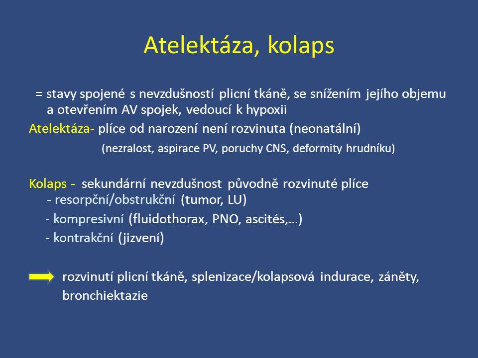 Atelektáza, kolaps = stavy spojené s nevzdušností plicní tkáně, se snížením jejího objemu a otevřením AV spojek, vedoucí k hypoxii Atelektáza- plíce o