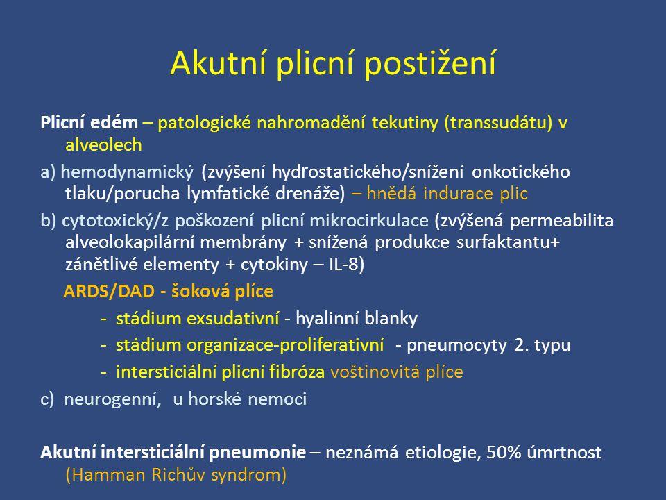 Akutní plicní postižení Plicní edém – patologické nahromadění tekutiny (transsudátu) v alveolech a) hemodynamický (zvýšení hyd r ostatického/snížení o