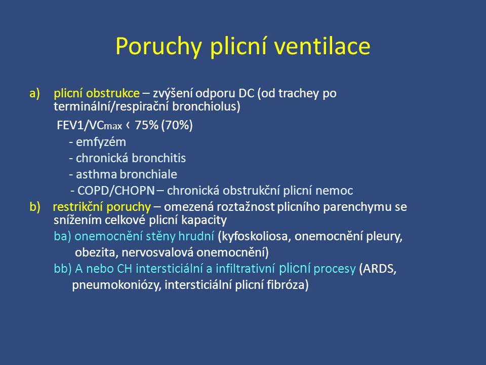 Poruchy plicní ventilace a)plicní obstrukce – zvýšení odporu DC (od trachey po terminální/respirační bronchiolus) FEV1/VC max ‹ 75% (70%) - emfyzém -