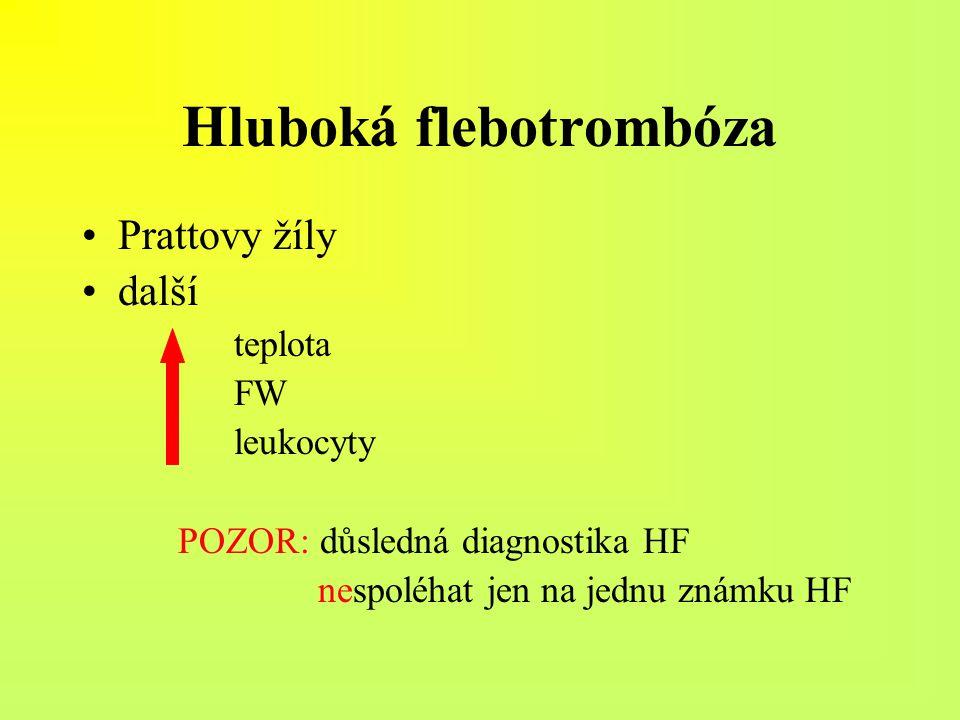 Hluboká flebotrombóza Prattovy žíly další teplota FW leukocyty POZOR: důsledná diagnostika HF nespoléhat jen na jednu známku HF