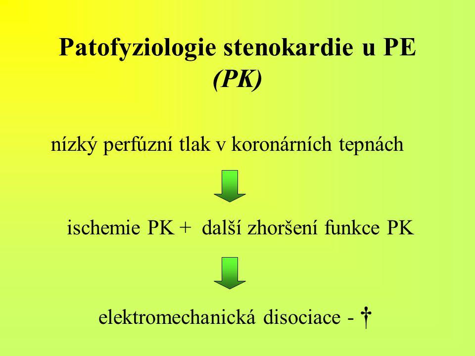 Patofyziologie stenokardie u PE (PK) nízký perfúzní tlak v koronárních tepnách ischemie PK + další zhoršení funkce PK elektromechanická disociace - †