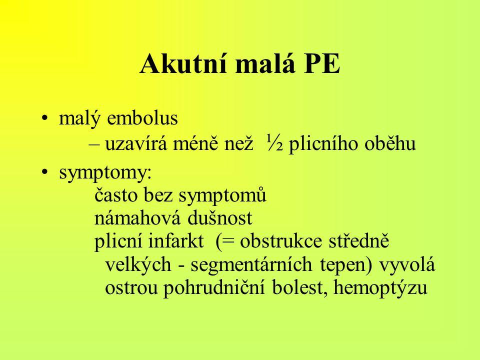 Akutní malá PE malý embolus – uzavírá méně než ½ plicního oběhu symptomy: často bez symptomů námahová dušnost plicní infarkt (= obstrukce středně velk